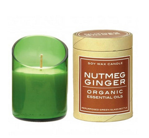 Recycled Glass Soy Wax Candle - Ginger Nutmeg