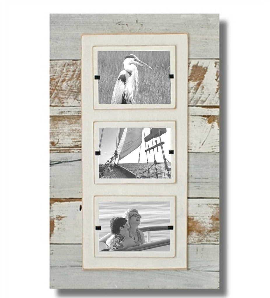 Reclaimed Wood Triple Frame, White Wash (15 x 23)