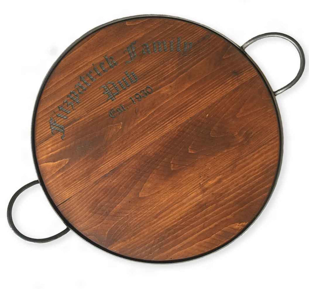 Personalized Cask Amp Crown Pub Wood Tray Rustic Wall Co