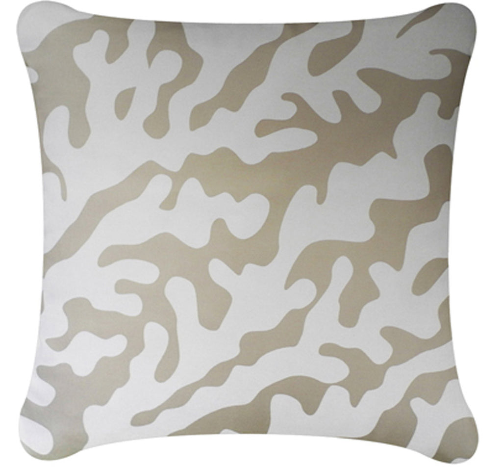 Coral Decorative Modern Square Throw Pillow Cover (Seagrass Beige)