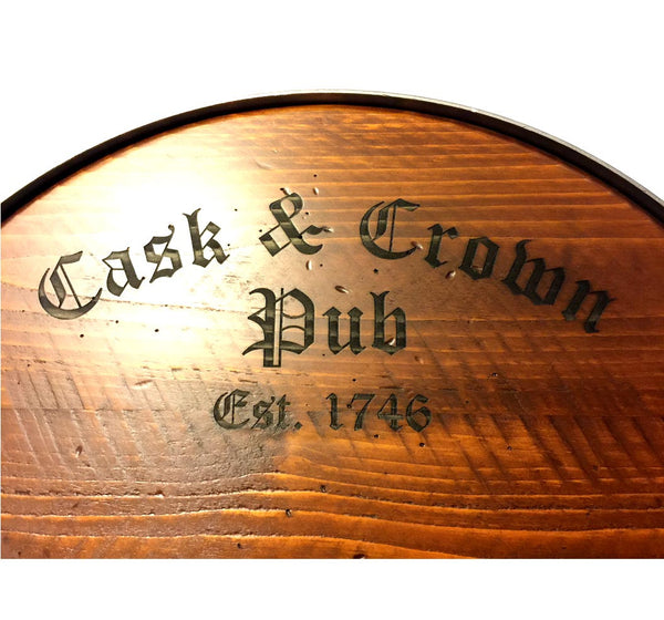 Cask & Crown Pub Wood Tray with Handles