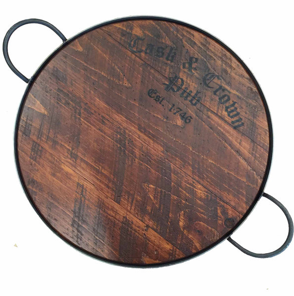 Cask & Crown Wine Barrel Pub Tray with Handles, Rustic Pine