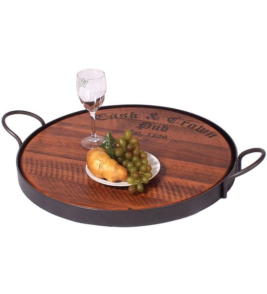 Reclaimed Wine Barrel Pub Tray with Handles