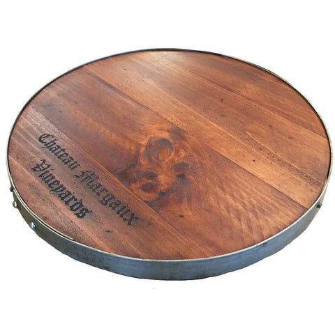 Chateau Margaux Vineyards Wine Barrel Lazy Susan with Barrel Ring Lip