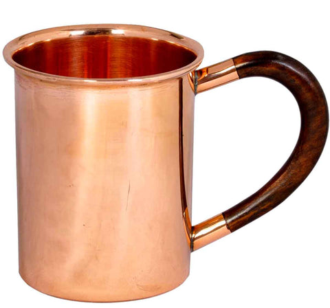 Smooth Copper 12oz Mug with Wood Handle