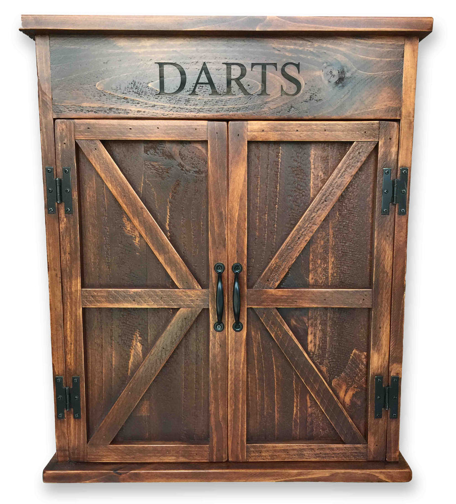 Premium Reclaimed Wood Dart Board Cabinet Rustic Wall Co