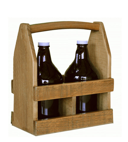 Reclaimed Wine Barrel 2-Growler Beer Caddy
