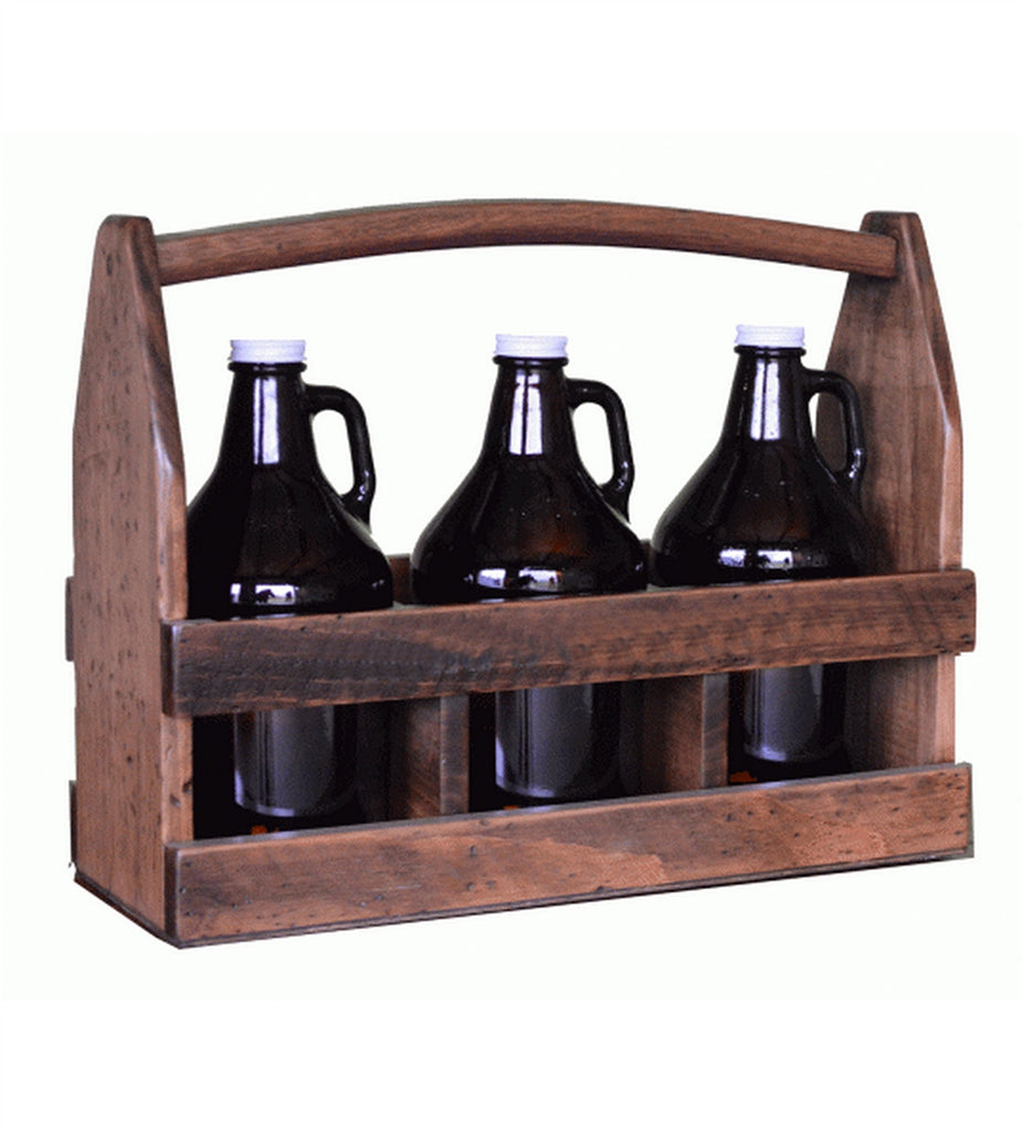 Recycled Wine Barrel 3-Growler Beer Caddy