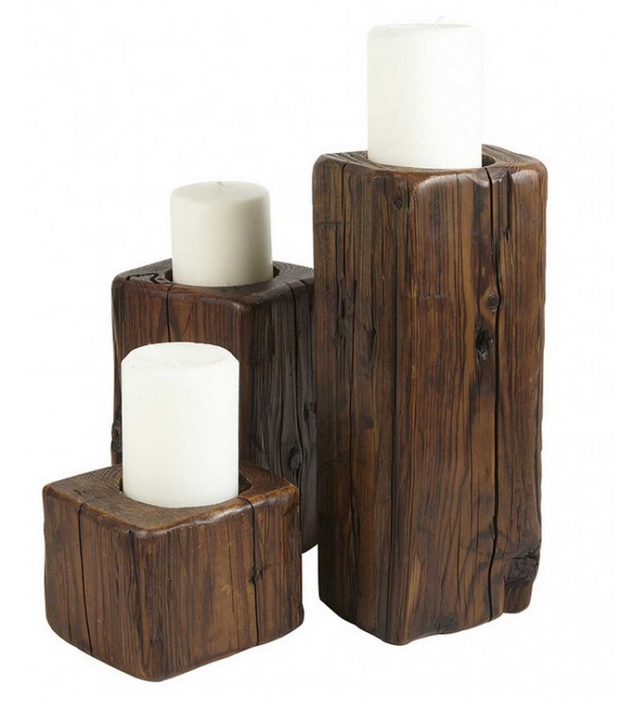 Reclaimed Wood Candleholders (Set of 3)