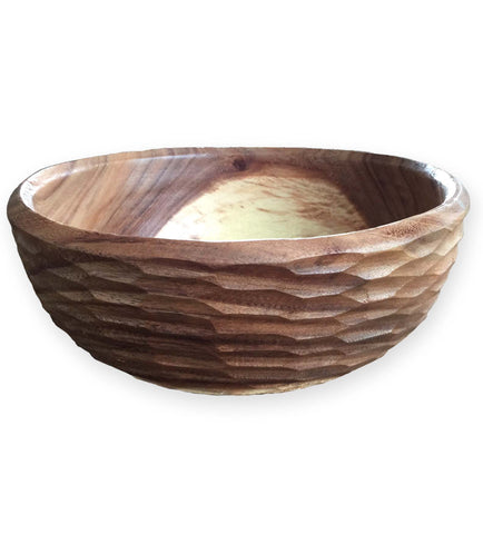 Acacia Hand Carved Classic Salad Serving Bowl