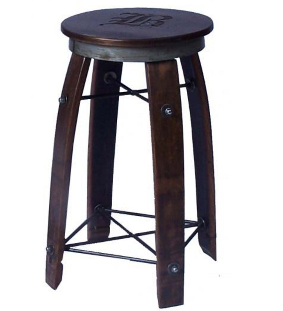 Personalized Wine Barrel Swivel Stool With Wrought Iron