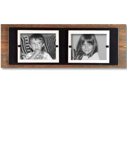 Reclaimed Wood Double Photo Frame, Black Backboard (7.25 x 22)