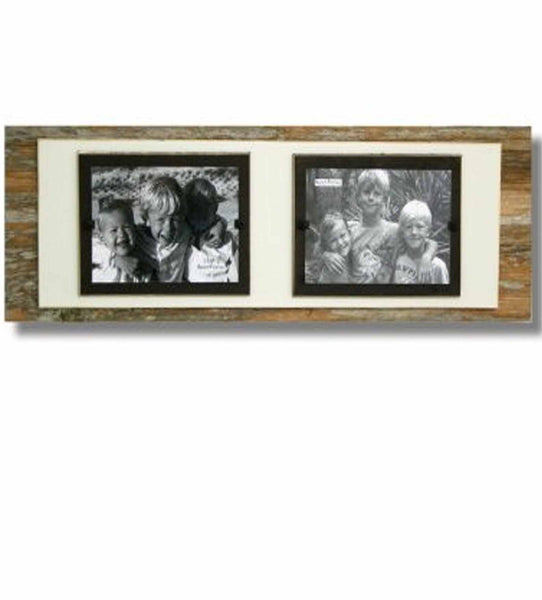 Reclaimed Wood Double Photo Frame, Cream Backboard (7.25 x 22)