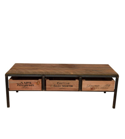 Sustainable tables and kitchen islands rustic wall co for Vintage wine crate coffee table