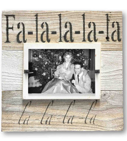 Fa-la-la-la-la Holiday Reclaimed Wood Picture Frame, White Mat (11 x 11)