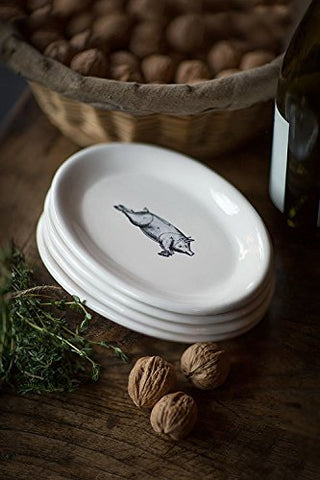 French Country Pig Oval Appetizer Plates, Set of 4