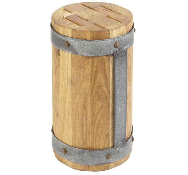Reclaimed Wood Round Galvi Knife Block