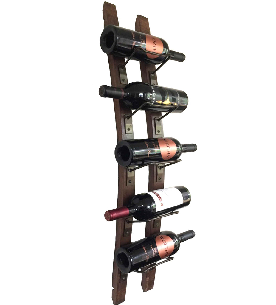 Wine Barrel Wine Rack Hanging 5 Bottle Display Rustic