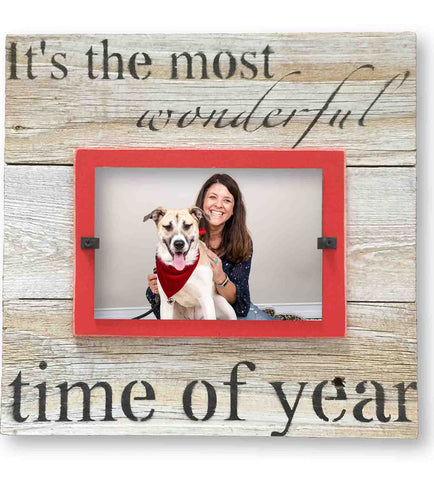 "Christmas Photo Frame ""The Most Wonderful Time of the Year Holiday"", Red Mat (11 x 11)"