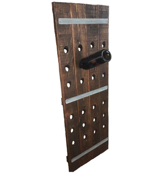 Wall Leaning 24-Bottle French Riddling Wine Rack, 4-Feet
