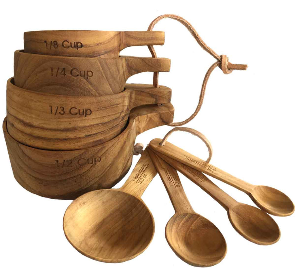 Teak Wood Measuring Cups And Spoons Set Kitchen Tools