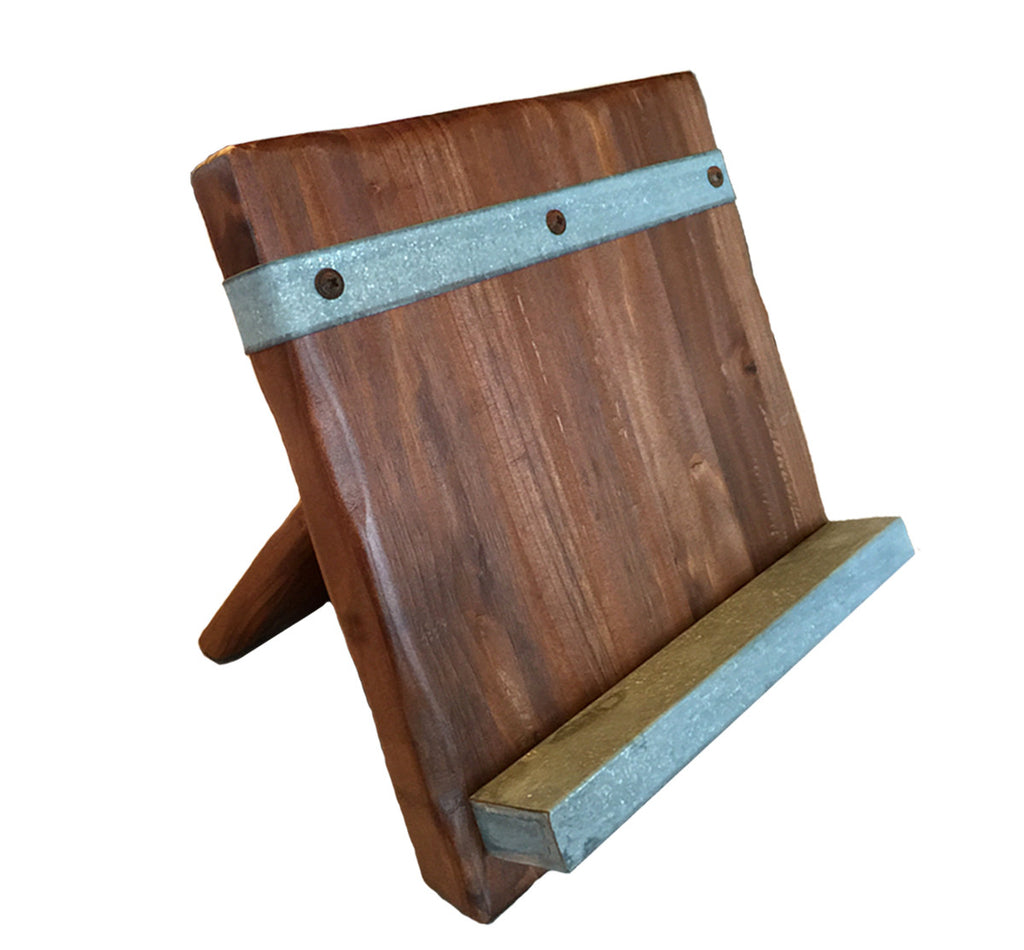 Reclaimed Wood Tablet and Cookbook Stand - Reclaimed Wood Tablet Kitchen Stand Rustic Wall Co.