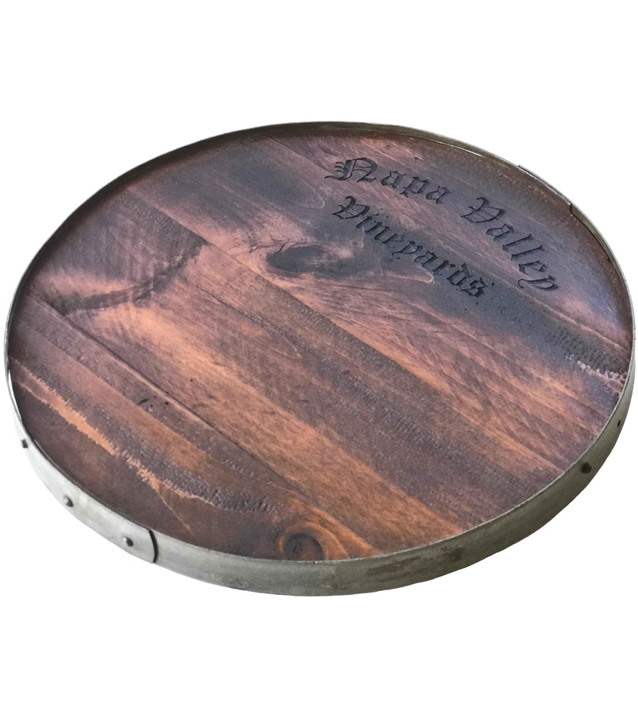 Napa Valley Vineyards Wine Barrel Lazy Susan with Barrel Ring Lip