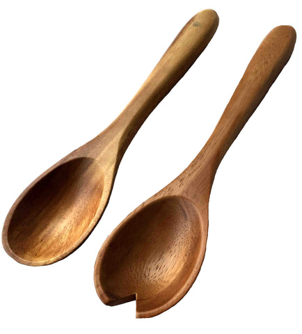 Natural Acacia Wood Hand Carved Classic Server Set