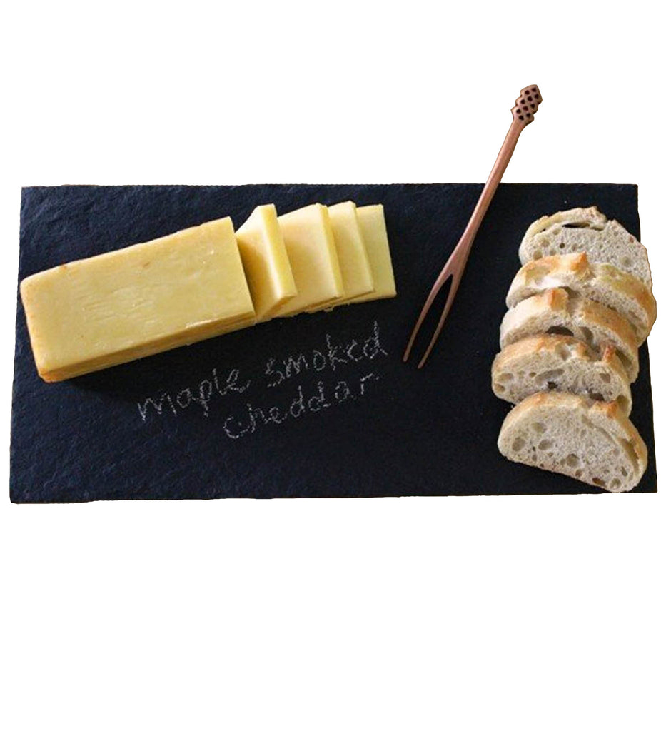 Natural Black Slate Rectangular Cheese Plate with Soap Stone Chalk