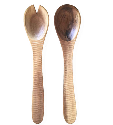 Natural Acacia Wood Salad Server Set