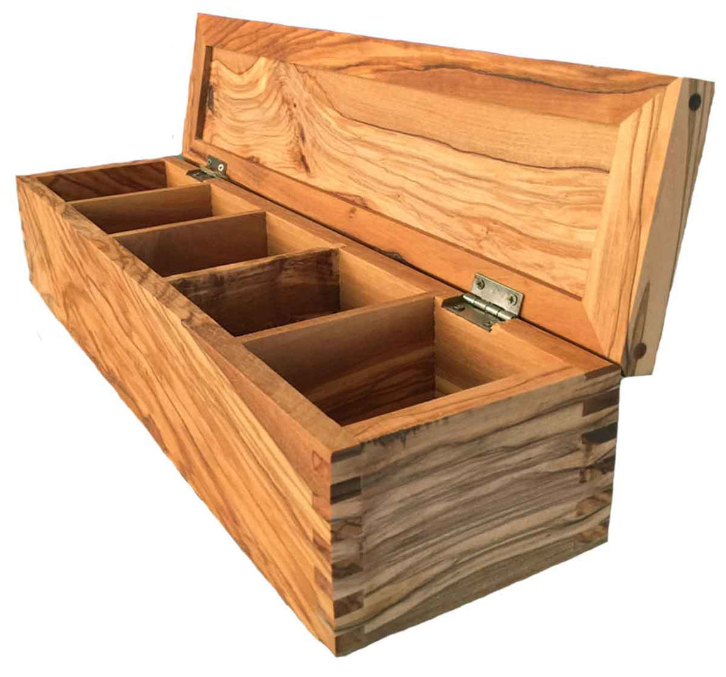 Italian Olive Wood Gourmet Spice and Tea Box