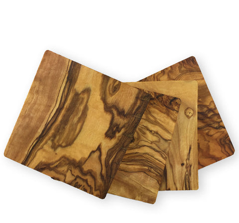 Olive Wood Square Coasters, Set of 4