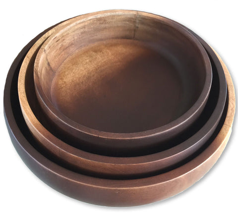 Sustainable Mango Wood Serving Bowls, Set of 3