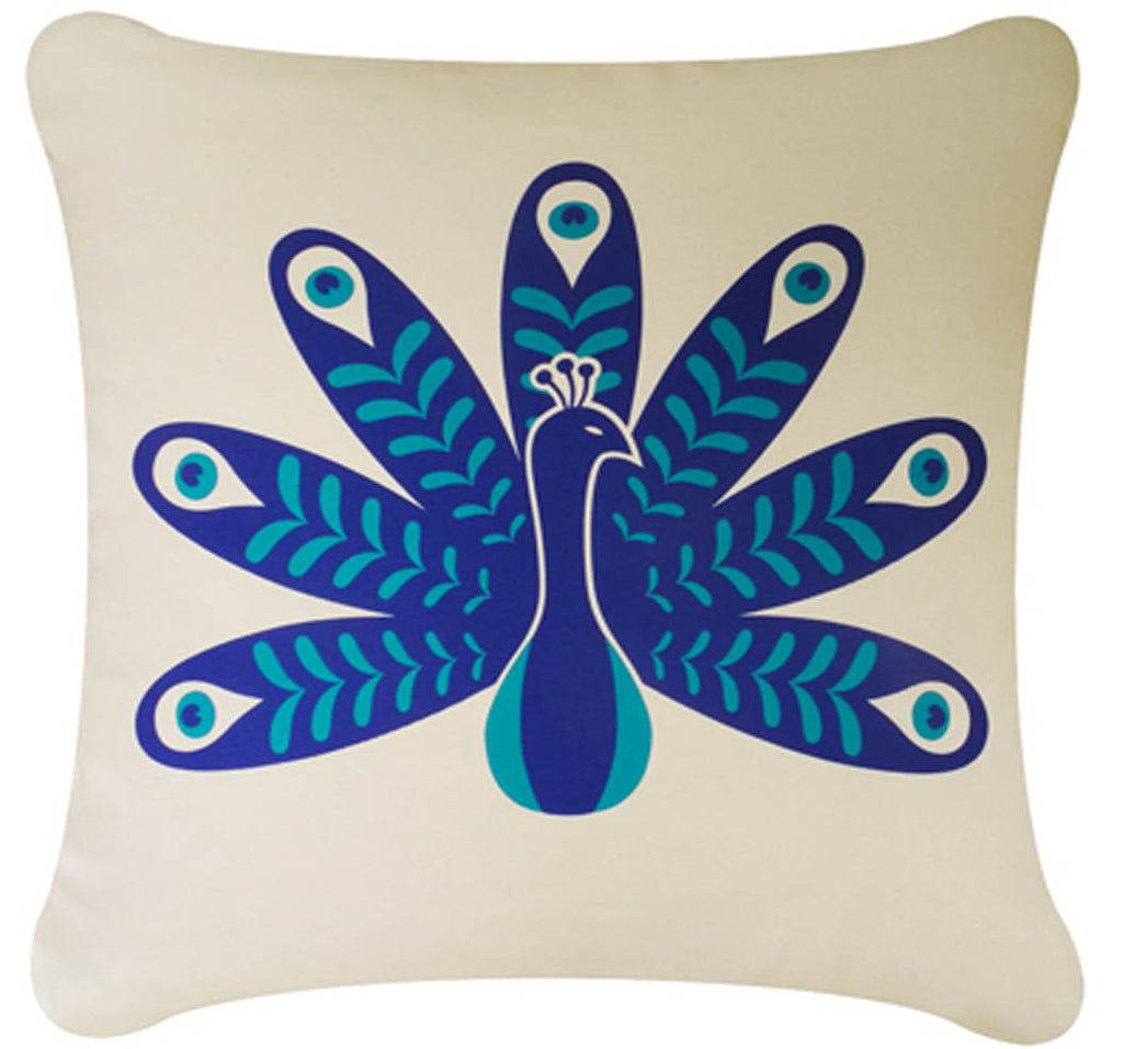 Peacock Decorative Modern Organic Cotton Square Throw Pillow Cover  (18 x 18)