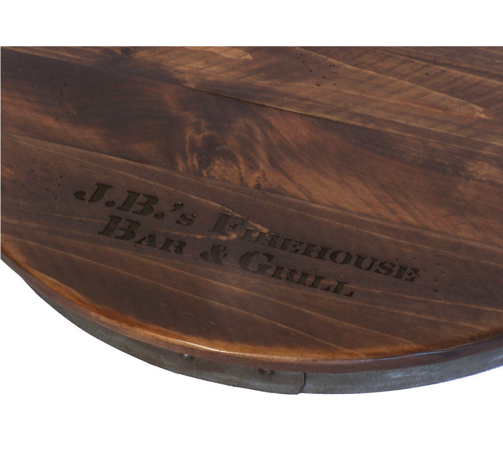Personalized Reclaimed Wine Barrel Lazy Susan Xl Rustic
