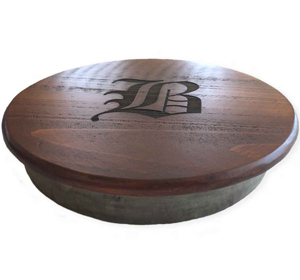Personalized Reclaimed Wine Barrel Lazy Susan, Medium