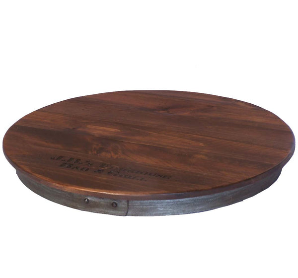 Personalized Reclaimed Wine Barrel Lazy Susan, XL