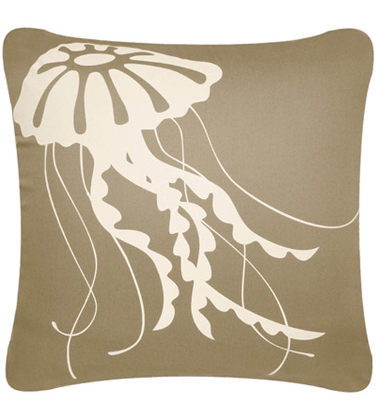 Jellyfish Decorative Modern Square Throw Pillow Cover (Khaki Tan)