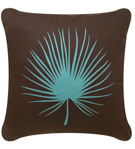 Palm Frond Decorative Modern Square Throw Pillow Cover (Brown)