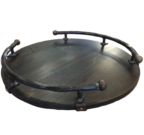Premium Noir Wine Barrel Lazy Susan with Wrought Iron Side Rails