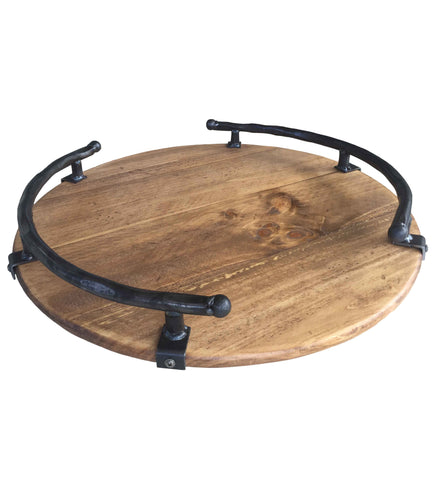 Premium Reclaimed Wood Lazy Susan with Iron Side Rail