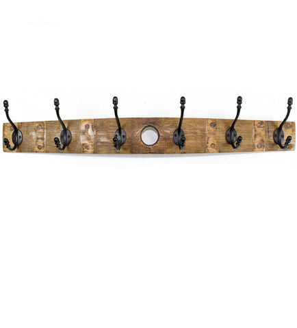 Wine Stave Hanging Coat Rack with Wrought Iron Metal Hooks