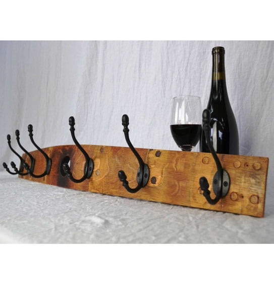 Wine Stave Hanging Coat Rack with Bung Hole