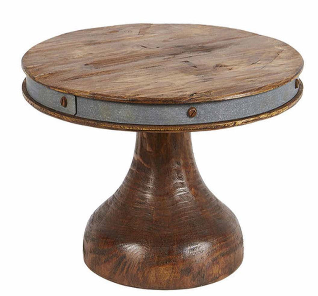 "Tall Rustic Reclaimed Wood Cake Stand, 12"" Diameter"