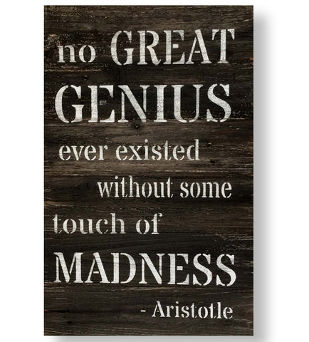 Reclaimed Barn Wood Wall Art Genius Quote on Rustic Black by Aristotle