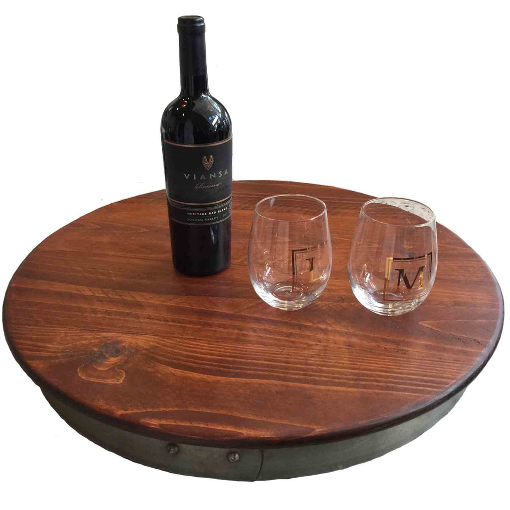 Extra Large Wine Barrel Lazy Susan, 23-Inches