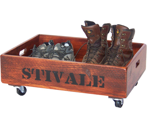 Personalized Reclaimed Wood Boot Caddy