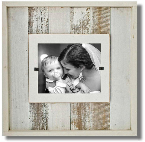 Reclaimed Coastal Wood Boxed Frame, White Washed ( 22 x 22)