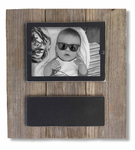 Reclaimed Wood Chalkboard Photo Frame with Black Border