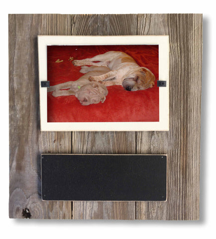 Reclaimed Wood Chalkboard Photo Frame with Cream Backboard